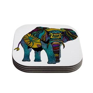 Kess InHouse Pom Graphic Design 'Elephant of Namibia' Coasters (Set of 4)