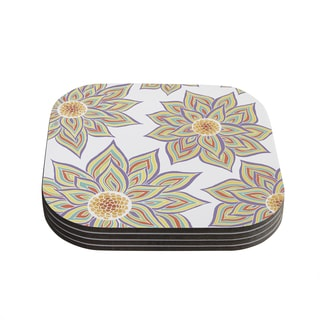 Kess InHouse Pom Graphic Design 'Floral Rhythm' Coasters (Set of 4)