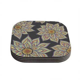 Kess InHouse Pom Graphic Design 'Floral Rhythm in the Dark' Coasters (Set of 4)