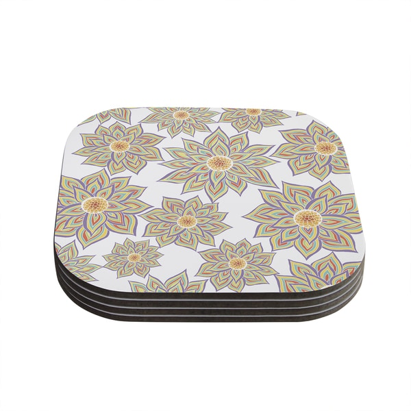 Kess InHouse Pom Graphic Design 'Floral Dance' Coasters (Set of 4)
