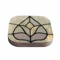 Kess InHouse Philip Brown 'Tulip Stained Glass' Floral Digital Coasters (Set of 4)
