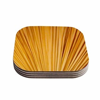 Kess InHouse Philip Brown 'Golden Curtains' Orange Abstract Coasters (Set of 4)