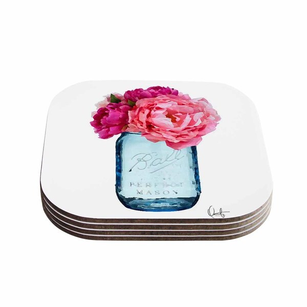 Kess InHouse Oriana Cordero 'Perfect Mason' Blue Pink Coasters (Set of 4)