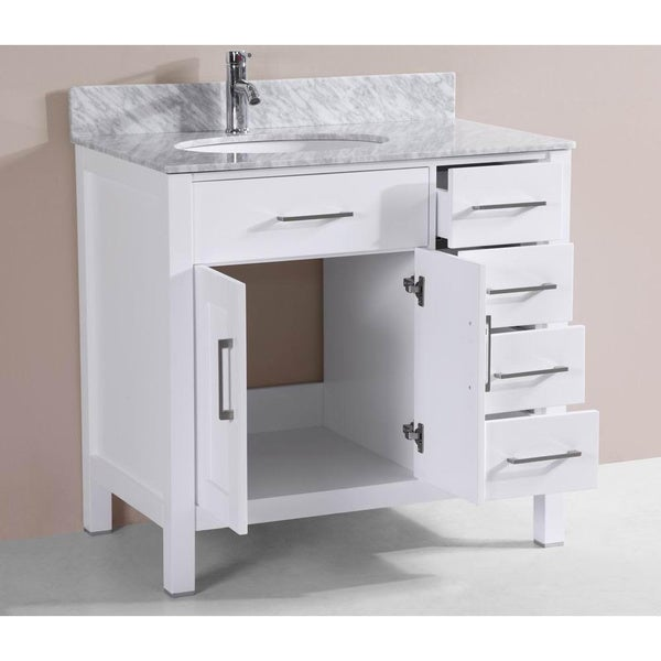 Belvedere White Solid Oak 36 Inch Bathroom Vanity, Marble Counter And  Ceramic Sink Set   Free Shipping Today   Overstock.com   18694301