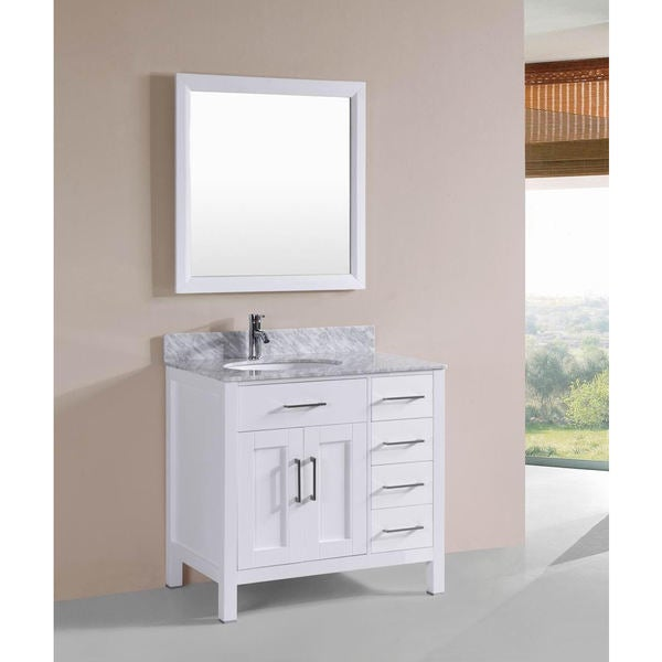 Belvedere White Solid Oak 36 Inch Bathroom Vanity Marble Counter And Ceramic Sink Set Free