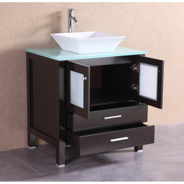 Modern Espresso Bathroom Vanity with Glass Top /& Vessel Sink 36 Inch