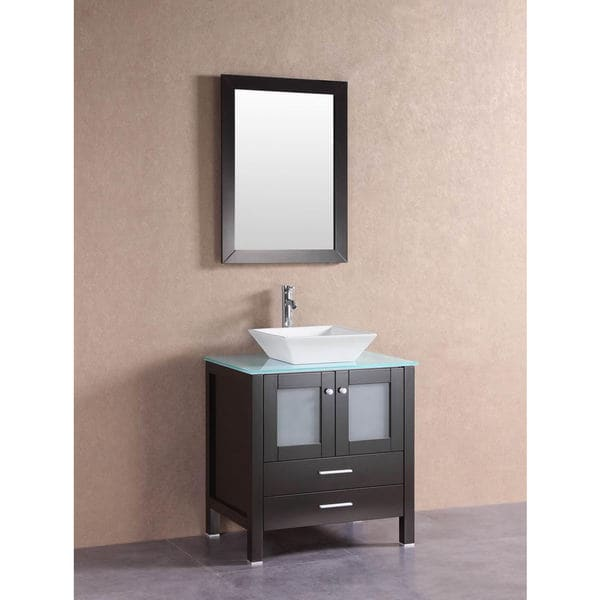 Shop belvedere modern espresso 30 inch bathroom vanity with glass top and vessel sink free for Contemporary bathroom sinks and vanities
