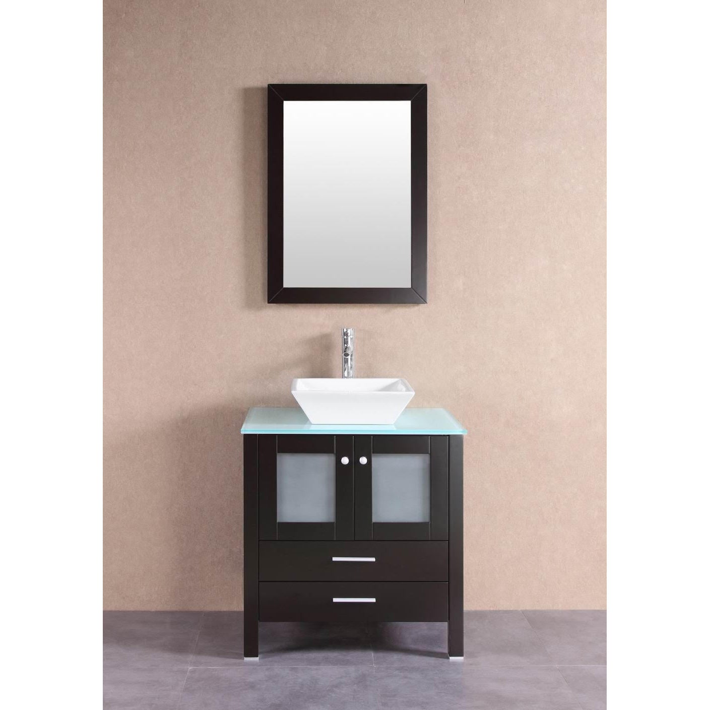 30 Inch Wide Belevedere Bath Modern Espresso Bathroom Vanity With Glass Top And Raised Glass Sink Solid Wood With Soft Close Doors And Drawer Tools Home Improvement Kitchen Bath Fixtures