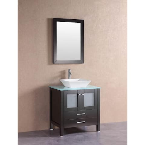 Belvedere Modern Espresso 30-inch Bathroom Vanity with Glass Top and Vessel Sink