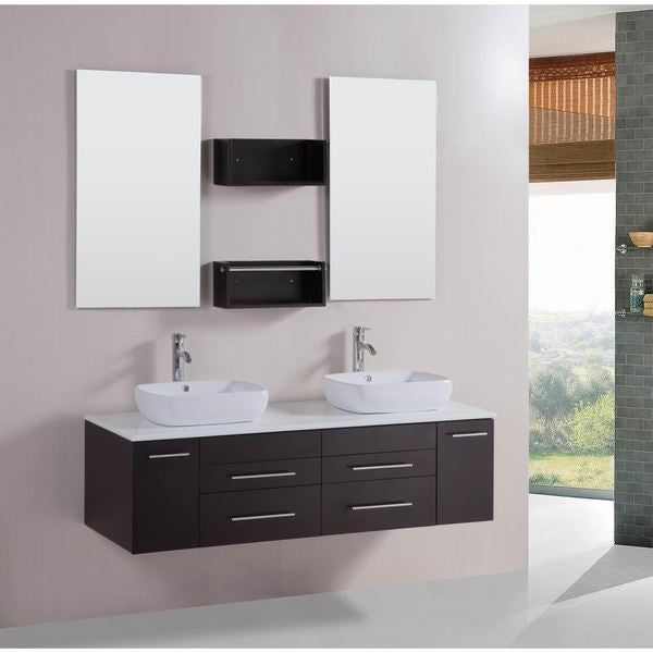 Shop Belvedere Modern 60 Inch Double Vessel Bathroom Vanity With Stone Top Free Shipping Today