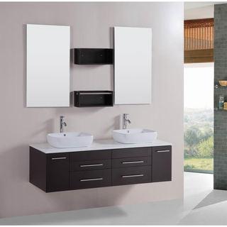 Belvedere Modern 60-inch Double Vessel Bathroom Vanity with Stone Top