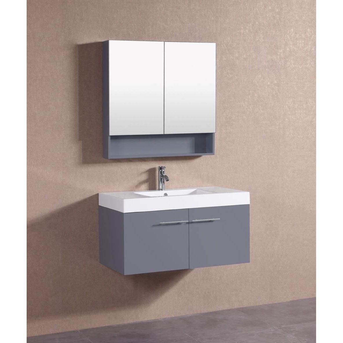 Belvedere Modern Dark Grey Floating 36 Inch Bathroom Vanity