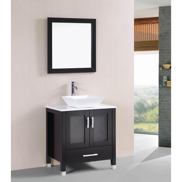 Belvedere Modern Espresso 30 Inch Bathroom Vanity With Vessel Sink