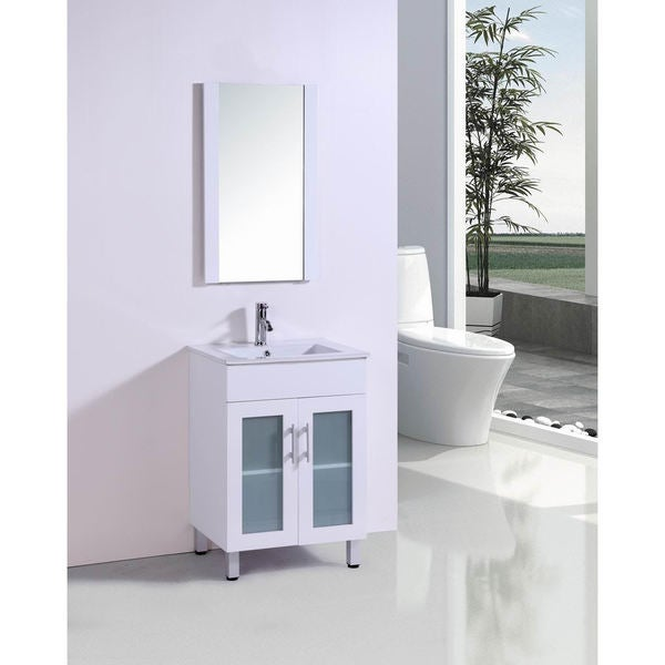 Belvedere 24 Inch Modern White Bathroom Vanity With Ceramic Countertop