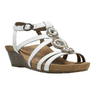 Women's Cobb Hill Hannah T-Strap Sandal White Full Grain Leather