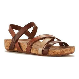 Women's Walking Cradles Pool Strappy Sandal Brown Multi Leather/Cork