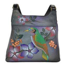 Women's ANNA by Anuschka Hand Painted Medium Hobo 7001 Bird On Branch Grey|https://ak1.ostkcdn.com/images/products/118/496/P18777081.jpg?impolicy=medium