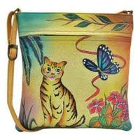 Women's ANNA by Anuschka Hand Painted Slim Crossbody 8034 Cat