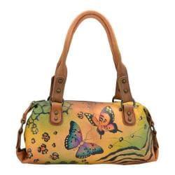 Women's ANNA by Anuschka Hand Painted Top Zip Satchel 8054 Animal Butterfly
