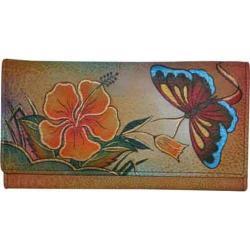 Women's ANNA by Anuschka Ladies Clutch Wallet 1701 Antique Hibiscus