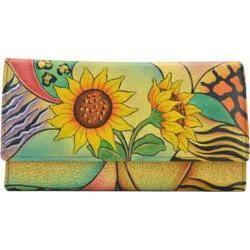 Women's ANNA by Anuschka Ladies Clutch Wallet 1701 Sunflower Safari|https://ak1.ostkcdn.com/images/products/118/497/P18777090.jpg?impolicy=medium