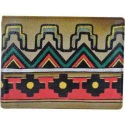 Men's Anuschka Hand Painted Two Fold Coin Pocket Wallet Antique Aztec