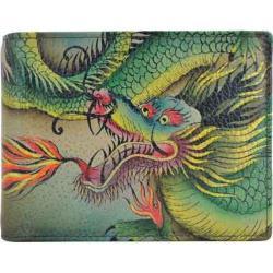 Men's Anuschka Hand Painted Two Fold Coin Pocket Wallet Hidden Dragon