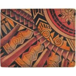 Men's Anuschka Hand Painted Two Fold Coin Pocket Wallet Tribal Tattoo