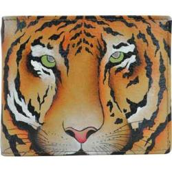 Men's Anuschka Hand Painted Two Fold Coin Pocket Wallet Wild Tiger