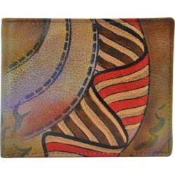 Men's Anuschka Hand Painted Two Fold Organizer Wallet Desert Safari