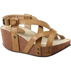 Women's Diba True Floor Me Wedges Camel Imi Leather