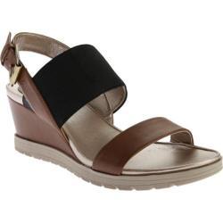 Women's Easy Spirit Hagano Wedge Sandal Natural/Black Synthetic