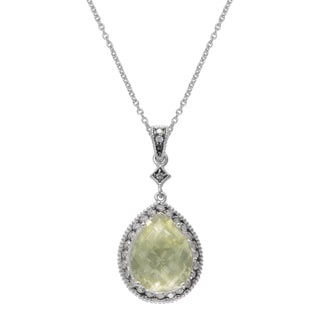 SIRI USA Sterling Silver Lemon Quartz and White Cubic Zirconia Pendant
