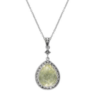 SIRI USA Sterling Silver Lemon Quartz and White Cubic Zirconia Pendant