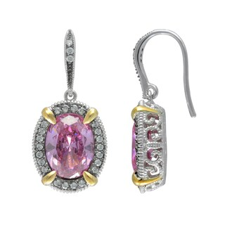 SIRI USA Sterling Silver Pink and White Cubic Zirconia Earrings