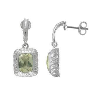 SIRI USA Sterling Silver Lemon Quartz and Cubic Zirconia Earrings