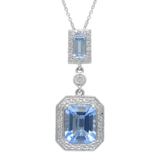 SIRI USA Sterling Silver Blue Synthetic Quartz and Cubic Zirconia Pendant