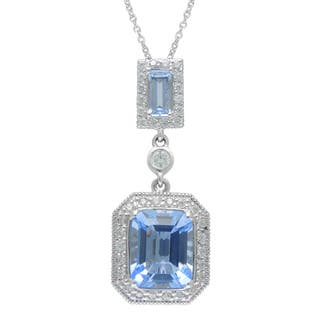 SIRI USA Sterling Silver Blue Synthetic Quartz and Cubic Zirconia Pendant|https://ak1.ostkcdn.com/images/products/11800441/P18709201.jpg?impolicy=medium