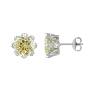 SIRI USA Sterling Silver Yellow Cubic Zirconia Earrings