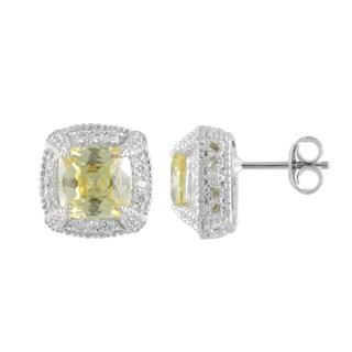 SIRI USA Sterling Silver Cubic Zirconia Gemstone Earrings