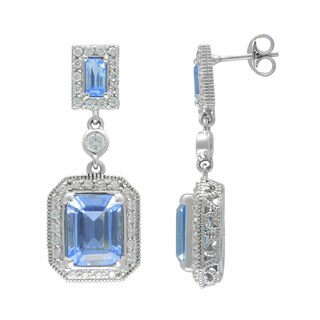 SIRI USA Sterling Silver Cubic Zirconia and Blue Synthetic Quartz Earrings