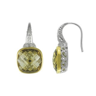 SIRI USA 14k Yellow Gold over Silver Champange Quartz and White Cubic Zirconia Earrings