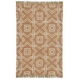 Kilim Dhurrie 'X and O' Tan Wool Jute Hand Woven Rug (8' x 11')