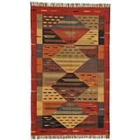 Handwoven Arizona Wool Jute Kilim Dhurry Rug - 8' x 11'