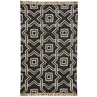 Kilim X and O Black Wool/Jute Handwoven Dhurry Rug (5' x 8')
