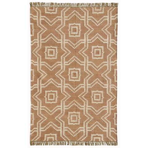 Acura Homes X and O Tan Wool/Jute Hand-woven Kilim Dhurry Rug (5' x 8')