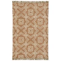 Acura Homes X and O Tan Wool/Jute Hand-woven Kilim Dhurry Rug (5' x 8')