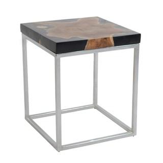 Keanna Black Fiber Wood Square Side Table
