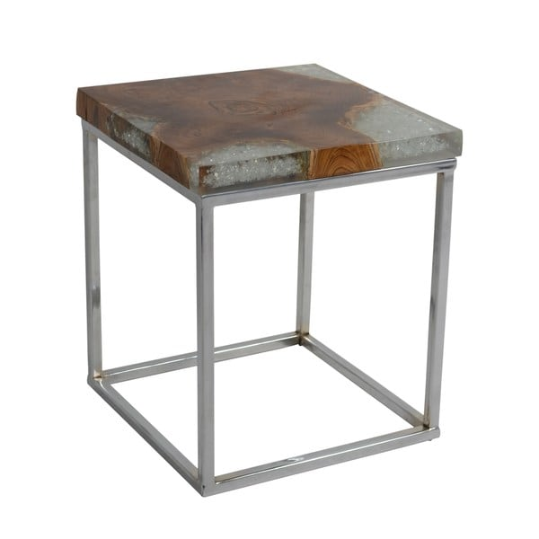 Shop Keala Icy Wood Square Side Table Free Shipping