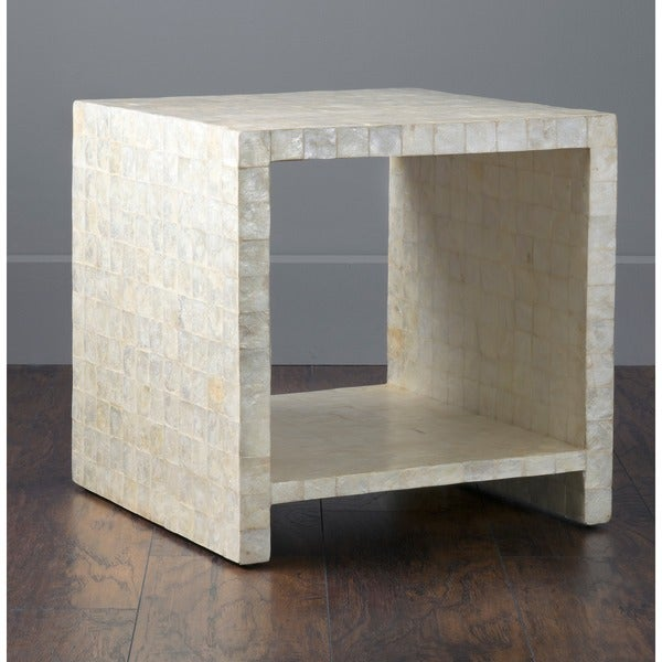 East At Mainu0026#x27;s Kalani Off White Cube Capiz Accent Table